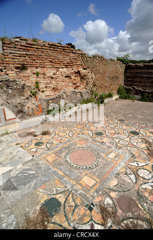 italy, rome, ostia antica, roman house of cupid and psyche (domus di amore e psiche), ancient mosaic floor - Stock Photo