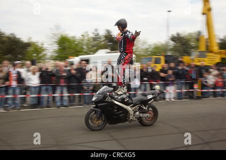 Motorcycle stuntman Mike Auffenberg standing on the seat of his motorcycle, Koblenz, Rhineland-Palatinate, Germany, - Stock Photo