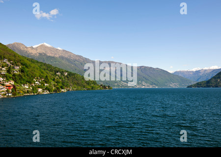 Views from Cannobio,Pino lago Maggiore,Point of the lake with Alps in Back Ground, Lake Maggiore,Italian lakes,Italy - Stock Photo