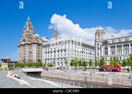 Pier head three graces buildings Liverpool waterfront  Merseyside England uk gb eu europe - Stock Photo
