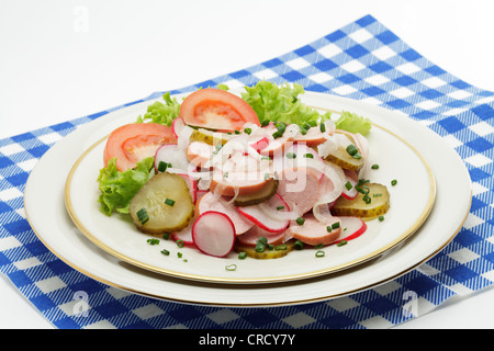 Bavarian sausage salad - Stock Photo