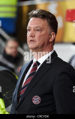Louis van Gaal, coach of FC Bayern-Muenchen, Bruchweg Stadium, Mainz, Rhineland-Palatinate, Germany, Europe - Stock Photo