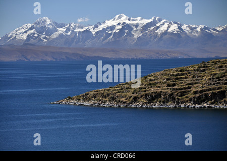 View from the Isla del Sol, Island of the Sun, in Lake Titicaca towards the Andes Mountains, Copacabana, Bolivia, - Stock Photo