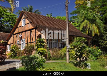 Half-timbered house in Pomerode, the 'most German' village in Brazil, Blumenau, Santa Caterina, Brazil, South America - Stock Photo