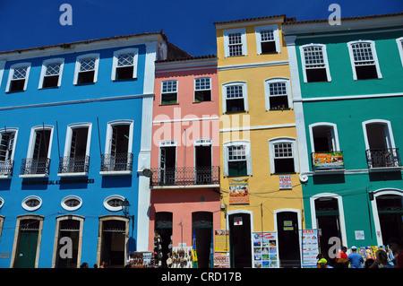 Colorful houses in the city center of Pelourinho, Salvador de Bahia, Bahia, Brazil, South America - Stock Photo