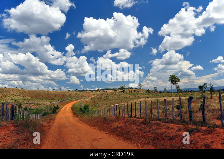 Vast pastures under a cloudy sky, Chapada Diamantina, Bahia, Brazil, South America - Stock Photo