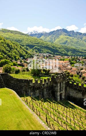 Bellinzona,Castles,Castelgrande,Montebello,Sasso Corbaro,Town Centre, Surrounding Countryside,Hills,Nr Lake Maggiore,Switzerland - Stock Photo