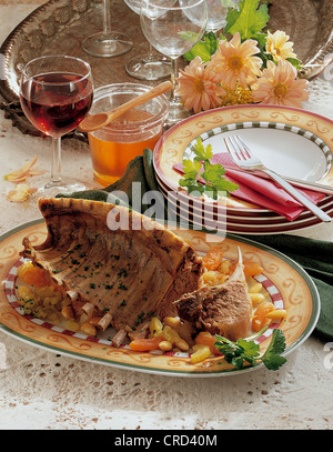 Dish of braised lamb and vegetables Stock Photo, Royalty ...