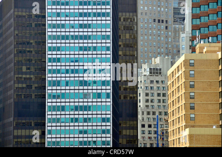 glass claddings of some office buildings in the Financial District, USA, New York City, Manhattan - Stock Photo