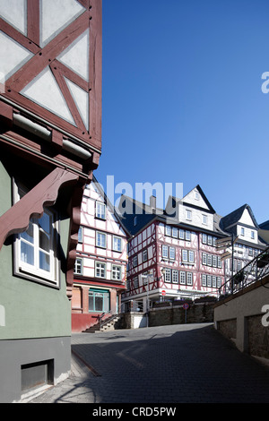 Half-timbered houses, Kornmarkt market square, historic town centre, Wetzlar, Hesse, Germany, Europe, PublicGround - Stock Photo