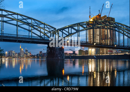 European central bank and Deutschherrnbruecke, Frankfurt am Main, Hesse, Germany, Europe - Stock Photo