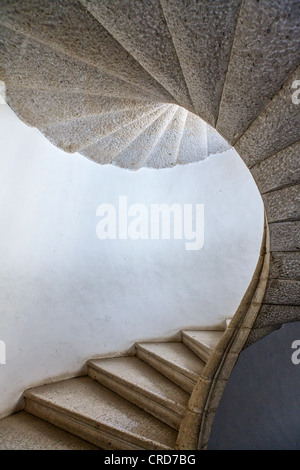 Europe Italy, Campania, Padula, the Certosa of San Lorenzo, detail of a stair - Stock Photo
