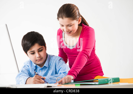 Two students in school - Stock Photo