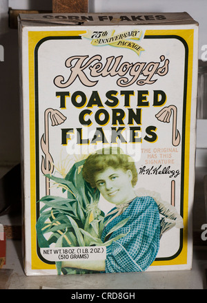 1981 box of Kellog's Corn Flakes. A faded box from the 75th anniversary of the cereal. - Stock Photo