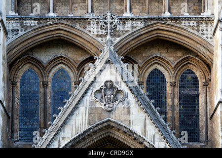 North entrance sculptures / stone carving. Westminster Abbey. London. England - Stock Photo