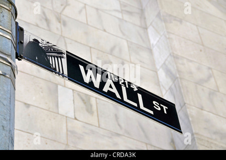 road sign in front of the New York Stock Exchange at the Wall Street, USA, New York City, Manhattan - Stock Photo