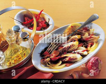 Roasted radicchio, Italy, recipe available for a fee - Stock Photo