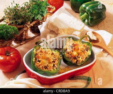 Peppers stuffed with feta cheese, Bosnia-Herzegovina, recipe available for a fee - Stock Photo