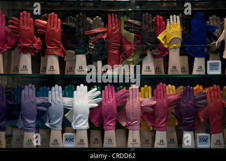 Window display of coloured gloves in a shop Galeries Royales Saint-Hubert Koninklijke Sint- Hubertusgalerijen Brussels - Stock Photo