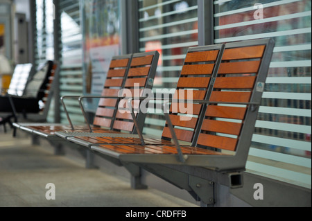 Empty chairs in the waiting area of the station, Dresden, Saxony, Germany, Europe - Stock Photo