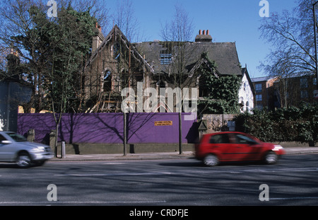 Large Victorian ruined derelict house southeast London England - Stock Photo