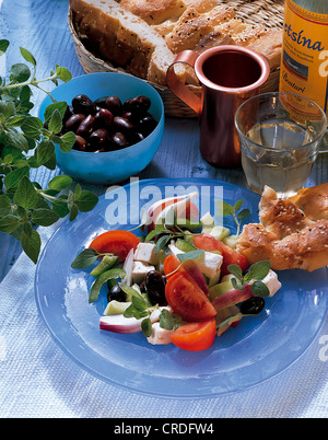 Greek salad, Greece, recipe available for a fee - Stock Photo