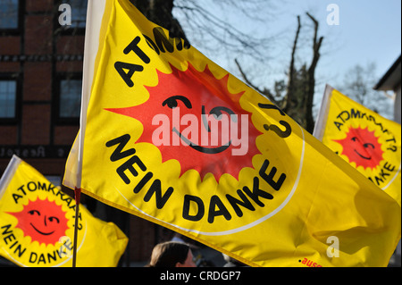 'Atomkraft, Nein Danke', German for 'Nuclear Power, no thanks' - Stock Photo