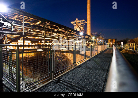 steelwork Henrichshuette at night, Germany, North Rhine-Westphalia, Ruhr Area, Hattingen - Stock Photo