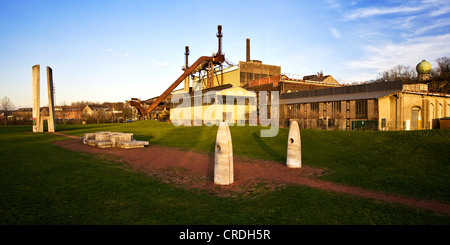 steelwork Henrichshuette with the sculpture garden in the foreground, Germany, North Rhine-Westphalia, Ruhr Area, - Stock Photo