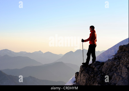 Climber on a ridge with Apl peaks, Reutte, Tyrol, Ausserfern, Austria, Europe - Stock Photo