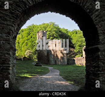 castle ruin Hardenstein in the Muttental at the mining loop road beside the Ruhr River, Germany, North Rhine-Westphalia, - Stock Photo