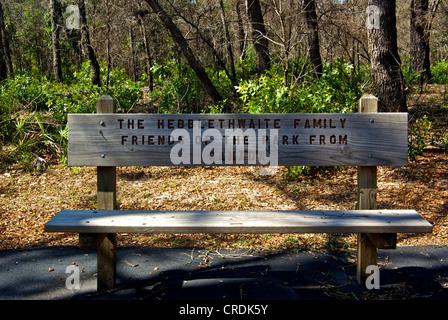 Hebblethwaite Family wooden bench Hugh Branyon Backcountry Trail Gulf Shores Ala - Stock Photo