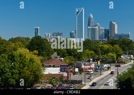 Skyline of Charlotte, North Carolina's largest city and the second largest banking and financial centre in the USA, - Stock Photo