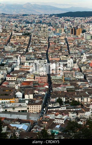 View from El Panecillo over Quito with the historic town centre in the foreground, Quito, Ecuador, South America - Stock Photo