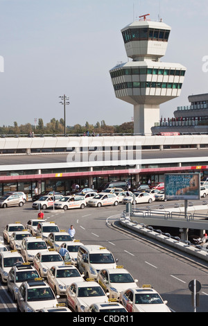 Taxi queue, tower, Berlin Tegel Otto Lilienthal Airport, Berlin, Germany, Europe - Stock Photo