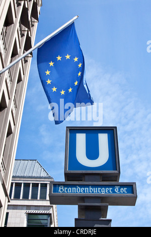 Brandenburger Tor U-bahn station, Brandenburg Gate underground railway station, in front of European House with - Stock Photo