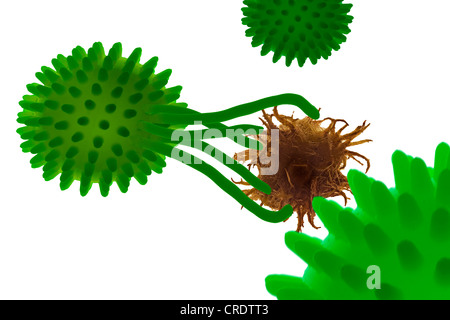 Illustration, macrophage reaching for a tumour - Stock Photo