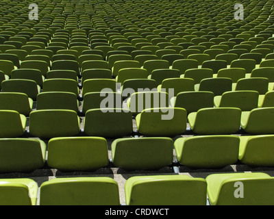 Olympic Stadium Munich, view on rows of seats, Germany, Bavaria, Muenchen - Stock Photo