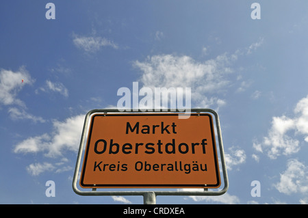 Place-name sign, Markt Oberstdorf, Oberallgaeu district, Bavaria, Germany, Europe, PublicGround - Stock Photo
