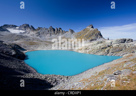 Blauer Wildsee Lake on five lakes tour on Mt Pizol, Bad Ragaz, Heidi-Country, Swiss Alps, Switzerland, Europe, PublicGround - Stock Photo