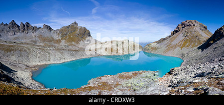 Blue Wildsee Lake on Pizol massif in 'Heidi-Land' Bad Ragaz in the Swiss Alps, Switzerland, Europe - Stock Photo