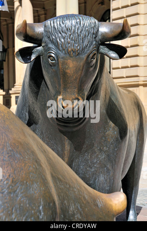 Bear and bull, symbols of the stock market, sculptures, Boersenplatz street, Frankfurt, Hesse, Germany, Europe - Stock Photo
