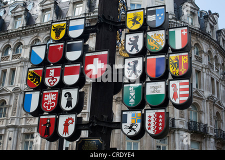 Swiss cantonal tree. Leicester Square, London, England - Stock Photo