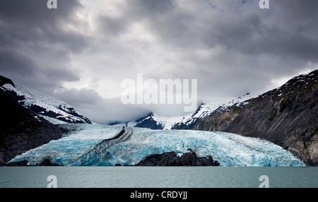 Portage Glacier on Portage Lake in the Chugach Mountains on the Kenai Peninsula near Anchorage, Alaska, USA - Stock Photo