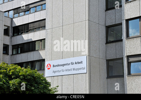 Agentur fuer Arbeit employment agency, logo and lettering on the building's facade, Wuppertal, Bergisches Land - Stock Photo