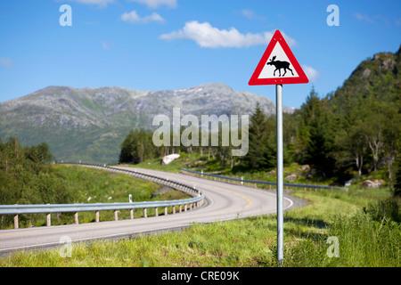 Elk warning sign on the roadside of a road in the Lofoten Islands, Norway, Scandinavia, Europe - Stock Photo