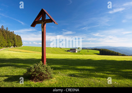 Wayside cross with old farm near St. Peter in the Black Forest, Germany, Europe, PublicGround