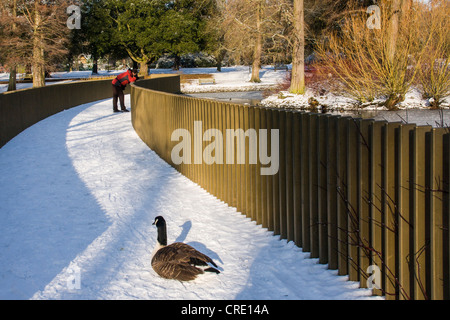 A man in a red jacket admires the view from the Sackler Crossing bridge as snow covers the gardens in winter - Kew - Stock Photo