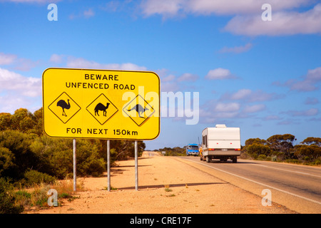 The famous sign on the Nullarbor Plain in Western Australia - look out for emus, camels and kangaroos - Stock Photo