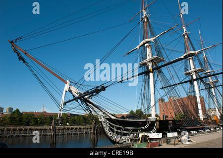 USS Constitution, museum ship, bow, masts, rigging, frigate, U.S. Navy, Charlestown Navy Yard, Freedom Trail, Boston - Stock Photo